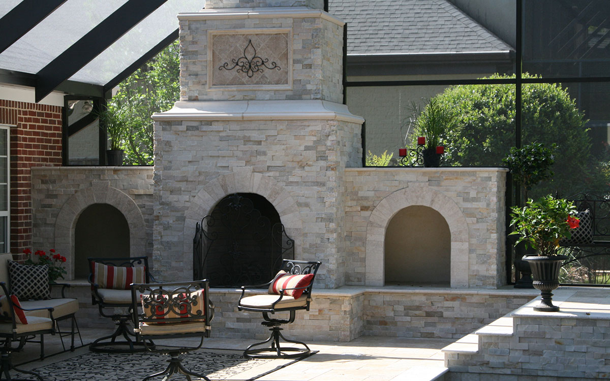 outdoor living: pool, grill kitchen, fireplace